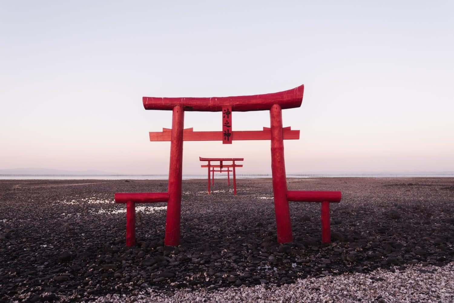 Red shrine on a beach in Japan